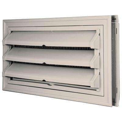 9-3/8 in. x 17-1/2 in. Foundation Vent Kit with Trim Ring and Optional Fixed Louvers (Galvanized Screen) in #048 Almond