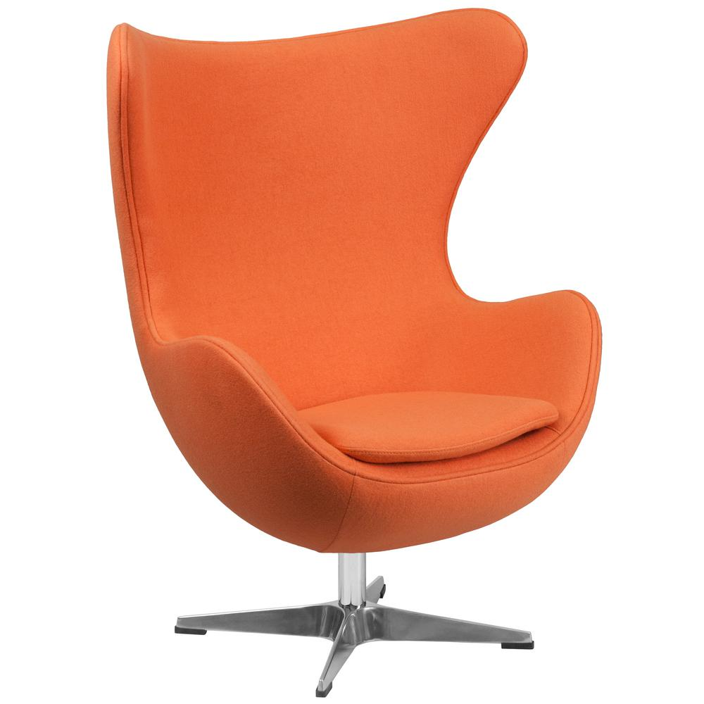 Flash Furniture Orange Wool Fabric Egg Chair With Tilt Lock Mechanism