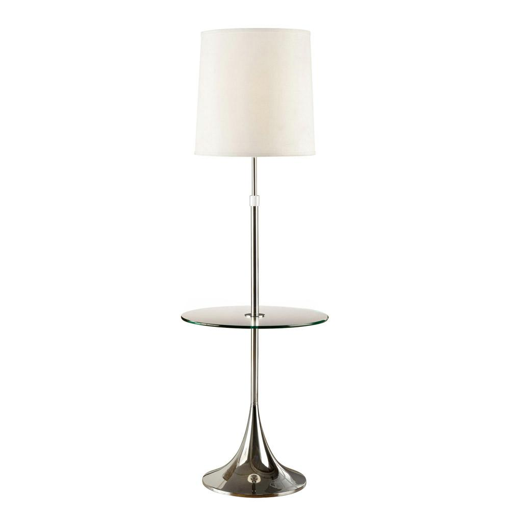 Enzo Modern Adjule 52 In To 65 Chrome Floor Lamp With Tempered Gl Table