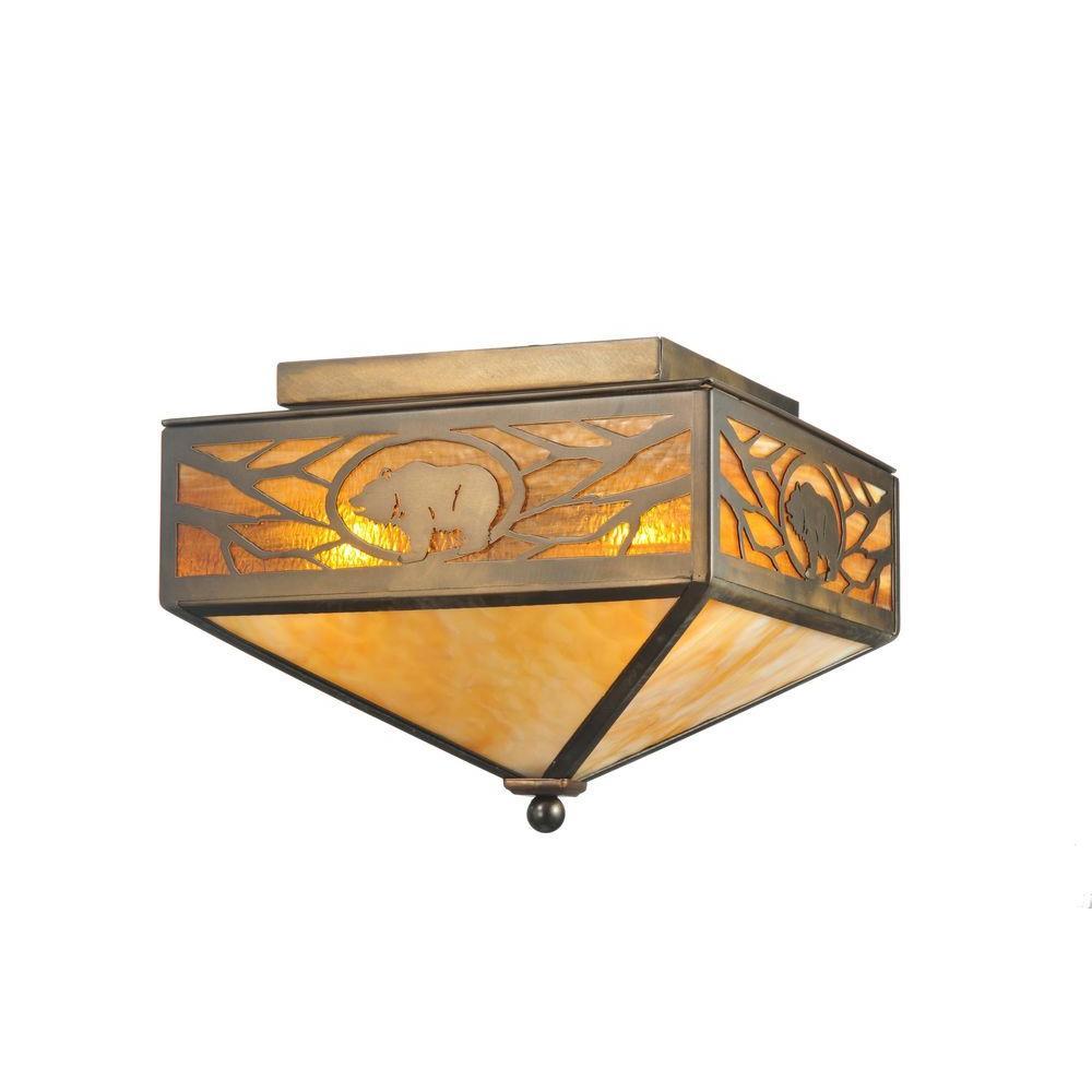 Illumine 2 Light Grizzly Flusmount Antique Copper Finish