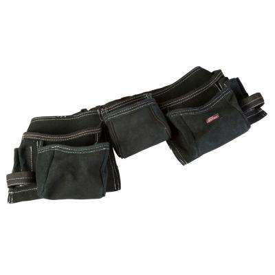 11-Pocket Leather Tool Belt Pouch Apron, Black