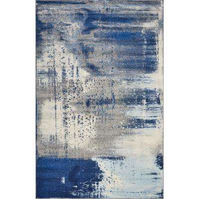 Watercolors Ice Blue Flow 8 ft. x 10 ft. Area Rug