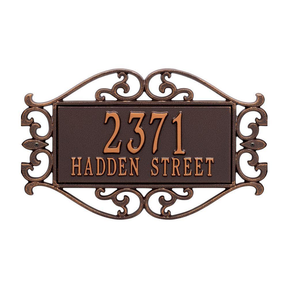 Lewis Fretwork Rectangular Antique Copper Standard Wall Two Line Address Plaque
