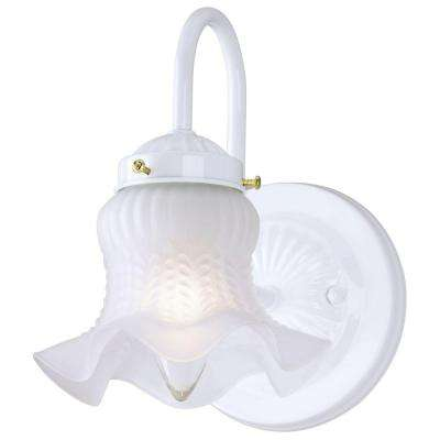 1-Light White Interior Wall Fixture with Frosted Ruffled Edge Glass