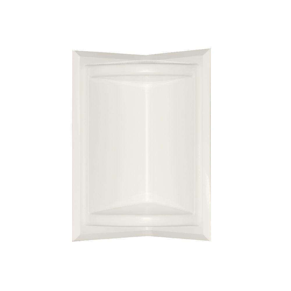 Swan 5.75 in. x 11 in. Corner-Mount Solid Surface Soap Dish in Bisque