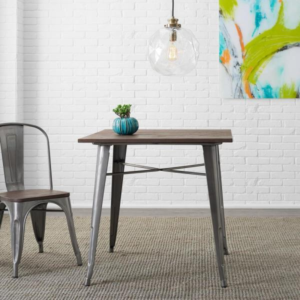 Stylewell Finwick Gunmetal Gray Metal Square Dining Table For 4 31 5 In L X 29 13 In H Tw801 Gmg The Home Depot