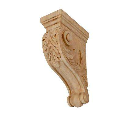 11 in. x 3-1/2 in. x 7-1/8 in. Unfinished Medium Hand Carved North American Solid Alder Acanthus Leaf Wood Corbel