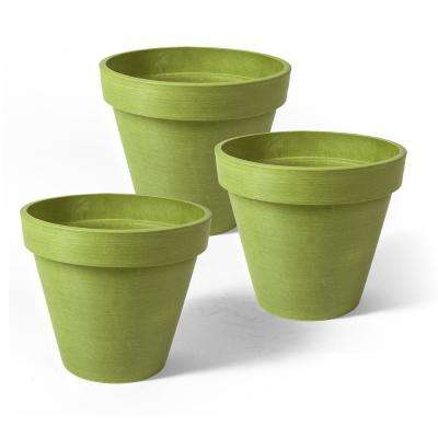 Valencia 4 in. Round Green Banded Plastic Planter - 3 Pack