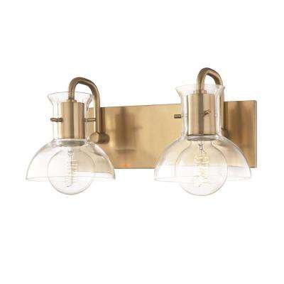 Riley 2-Light Aged Brass Bath Light with Clear Glass