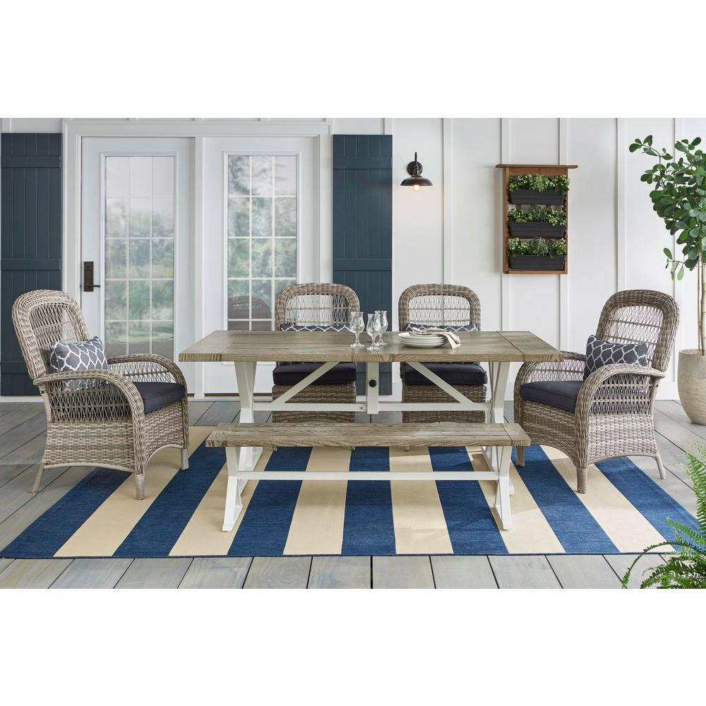 Fabulous Hampton Bay Beacon Park 6 Piece Gray Wicker Outdoor Dining Set With Midnight Cushions Ncnpc Chair Design For Home Ncnpcorg