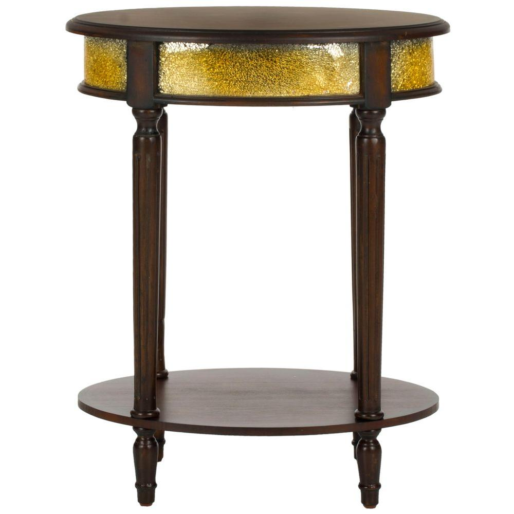 Safavieh Bernice Dark Brown Gold Side Table
