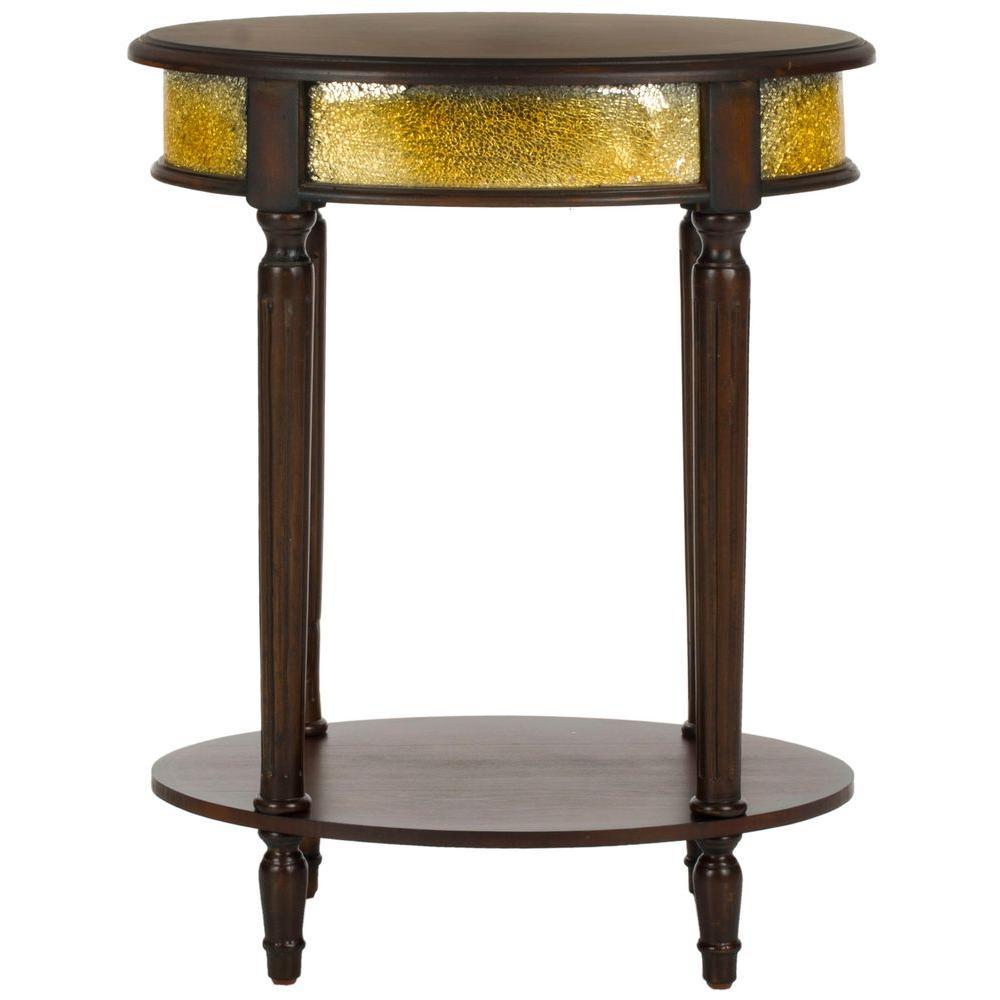 Bernice Dark Brown & Gold Side Table