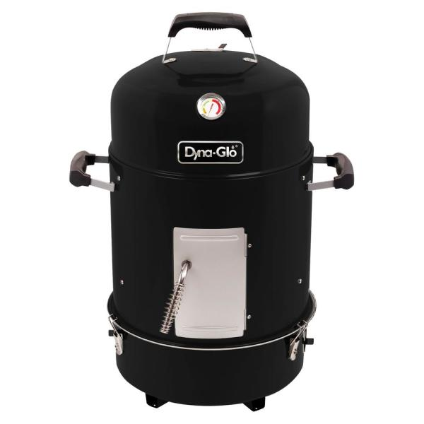 Compact 19 in. Dia Charcoal Smoker in High Gloss Black