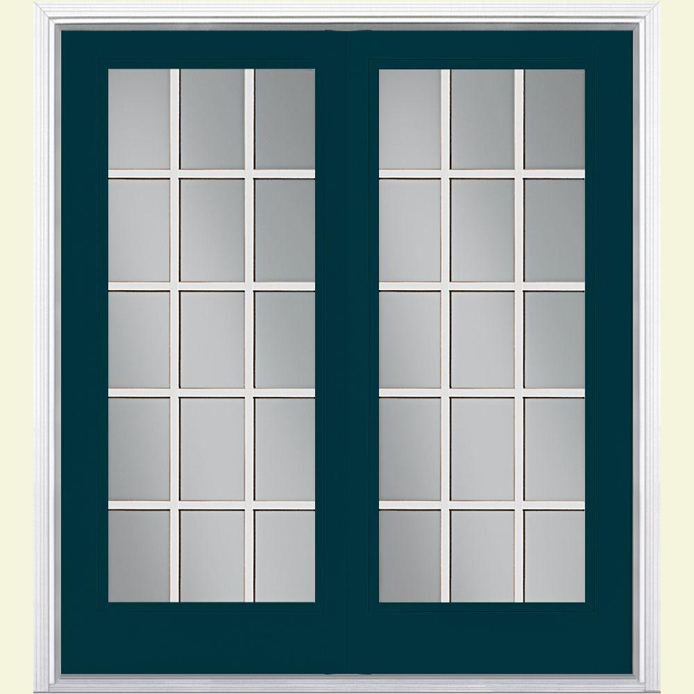Masonite 60 in. x 80 in. Night Tide Prehung Right-Hand Inswing 15 Lite Steel Patio Door with Brickmold