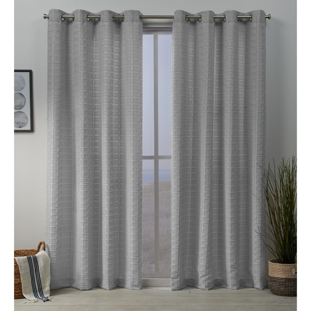 Exclusive Home Curtains Squared Embellished Grommet Top Curtain Panel Pair In Silver 54