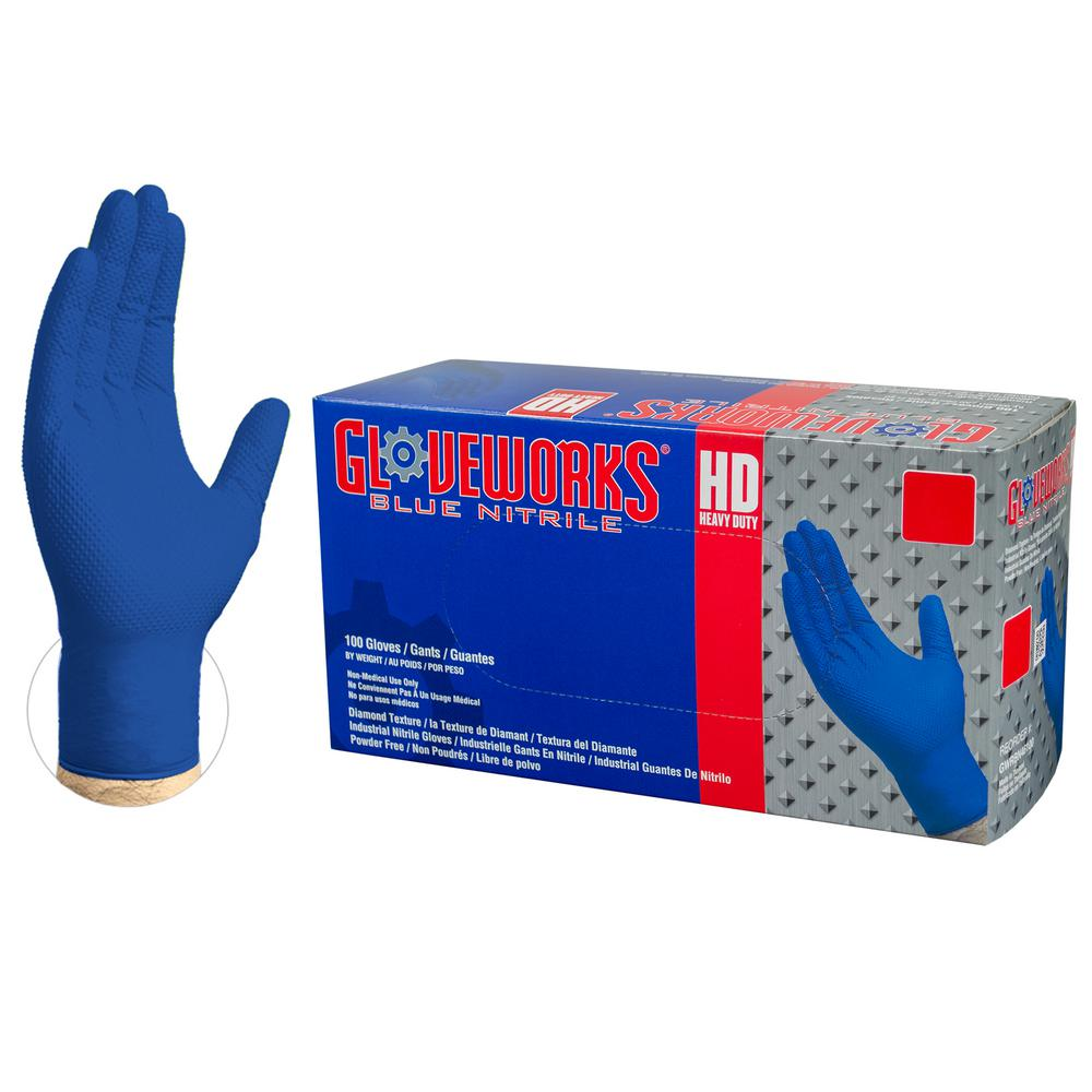 Large 8 mm Gloveworks HD Diamond Texture Royal Blue Nitrile Industrial