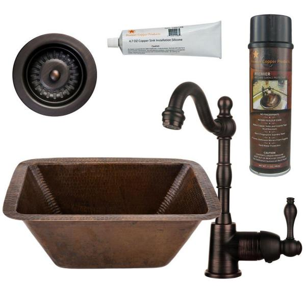 All-in-One Dual Mount Copper 17 in. 0-Hole Rectangle Bar/Prep Sink in Oil Rubbed Bronze