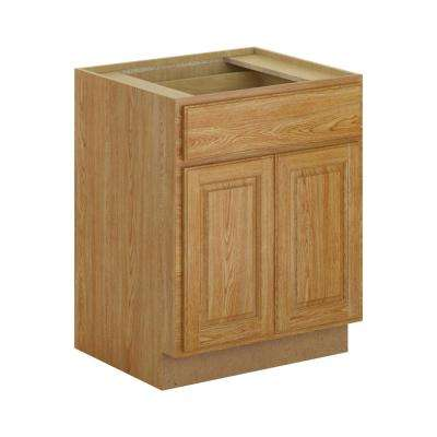 Madison Assembled 27x34.5x24 in. Base Cabinet with Soft Close Drawer in Medium Oak