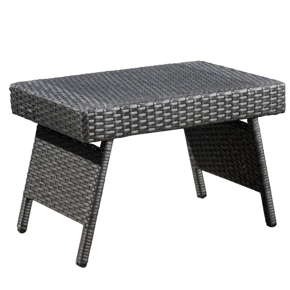 Le House Aaron Grey Folding Wicker Outdoor Side Table