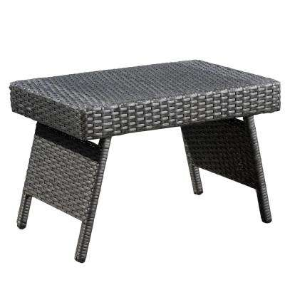 Aaron Grey Folding Wicker Outdoor Side Table