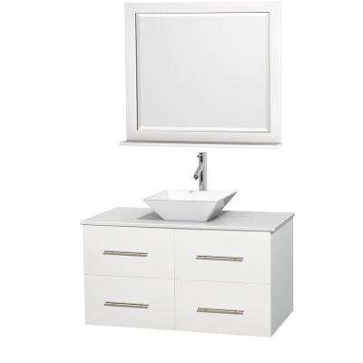 Centra 42 in. Vanity in White with Solid-Surface Vanity Top in White, Porcelain Sink and 36 in. Mirror