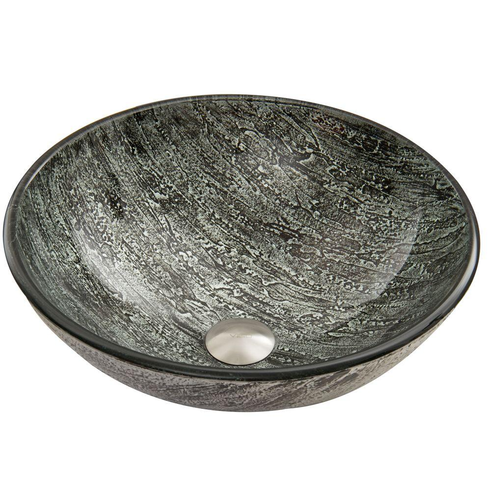 VIGO Glass Vessel Sink in Titanium