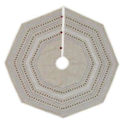 48 in. Liv Pebble Grey Traditional Christmas Decor Tree Skirt
