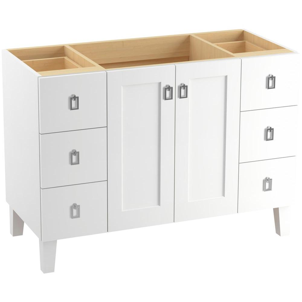 Kohler Poplin 48 In Vanity Cabinet Linen White