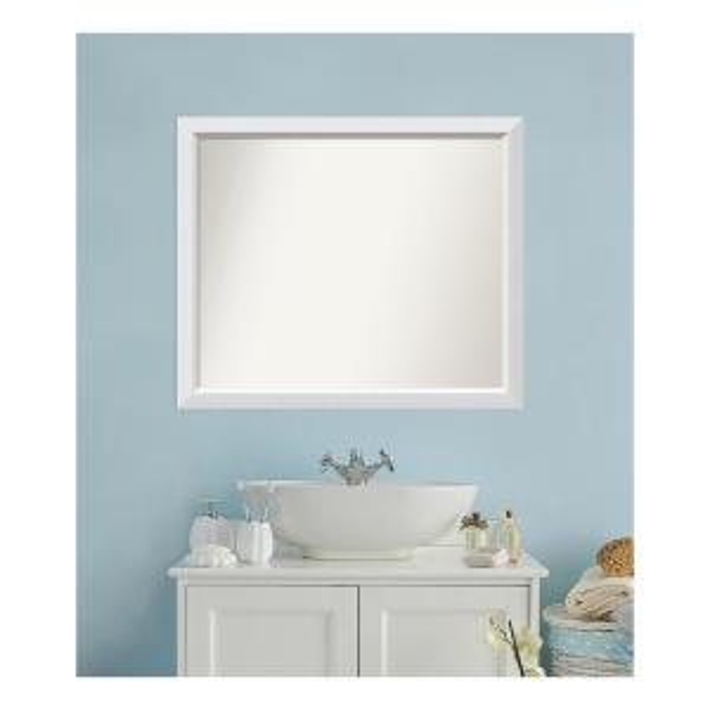 Medium Rectangle White Modern Mirror (32 in. H x 38 in. W)