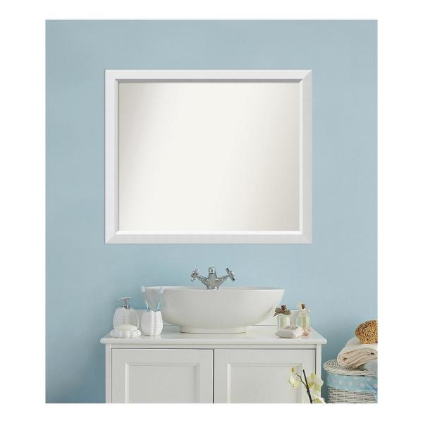 Medium Rectangle White Modern Mirror (32 in. H x 38 in. W)