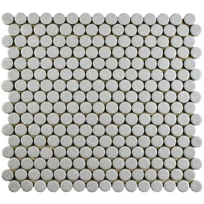Hudson Penny Round Crystalline Grey 12 in. x 12-5/8 in. x 5 mm Porcelain Mosaic Tile