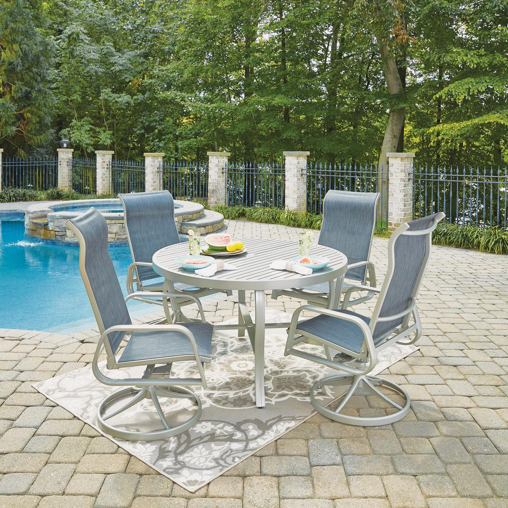 Home Styles South Beach Gray 5 Piece Aluminum Round Outdoor Dining Set