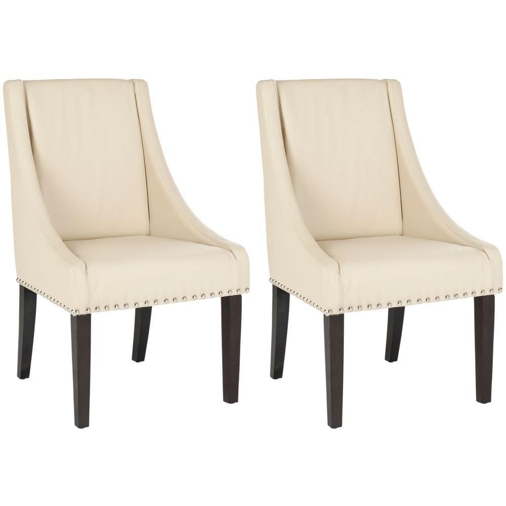 Britannia Cream/Espresso/Silver Nailheads Bicast Leather Side Chair (Set of 2)