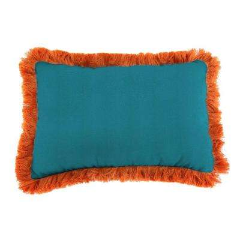 Sunbrella 19 in. x 12 in. Spectrum Peacock Lumbar Outdoor Throw Pillow with Tuscan Fringe