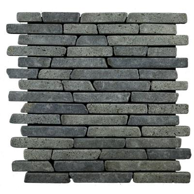 Sticks Tile Black 11.75 in. x 11.75 in. x 9.5mm Indonesian Marble Mesh-Mounted Mosaic Tile (10.659 sq. ft. / case)