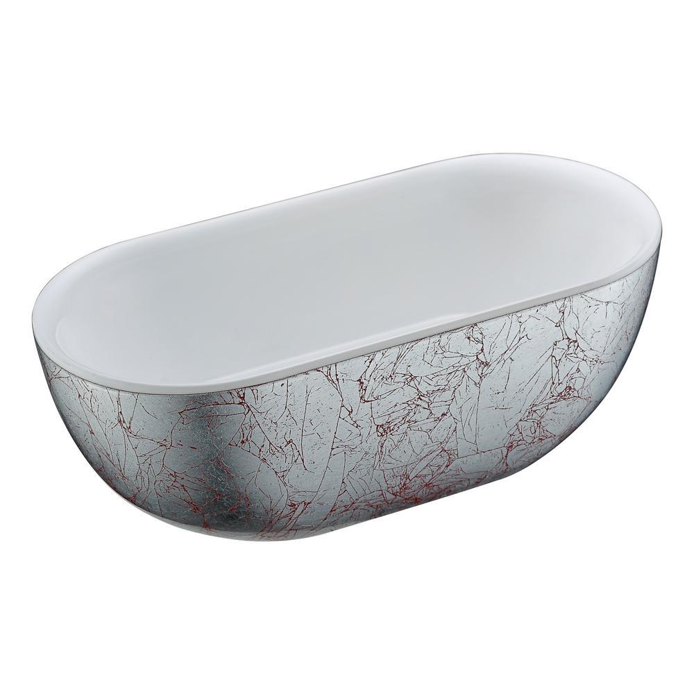 ANZZI Knight 6 ft. Acrylic Flatbottom Non-Whirlpool Bathtub in Crimson Snow