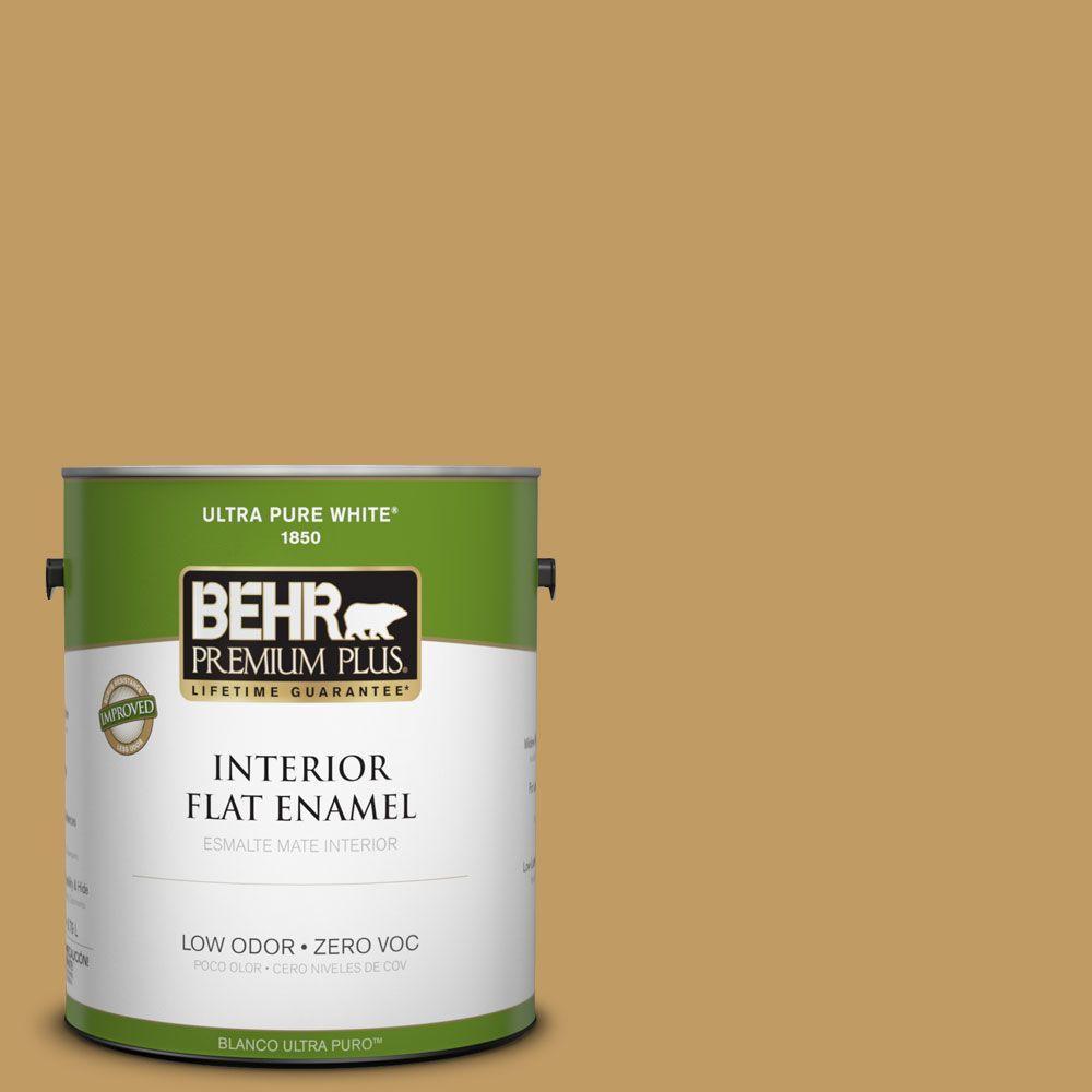 BEHR Premium Plus 1-gal. #340F-6 Mojave Gold Zero VOC Flat Enamel Interior Paint-DISCONTINUED