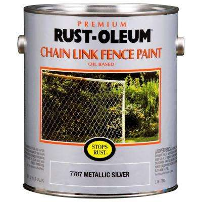 1 gal. Metallic Silver Oil-Based Chain Link Fence Paint (2-Pack)