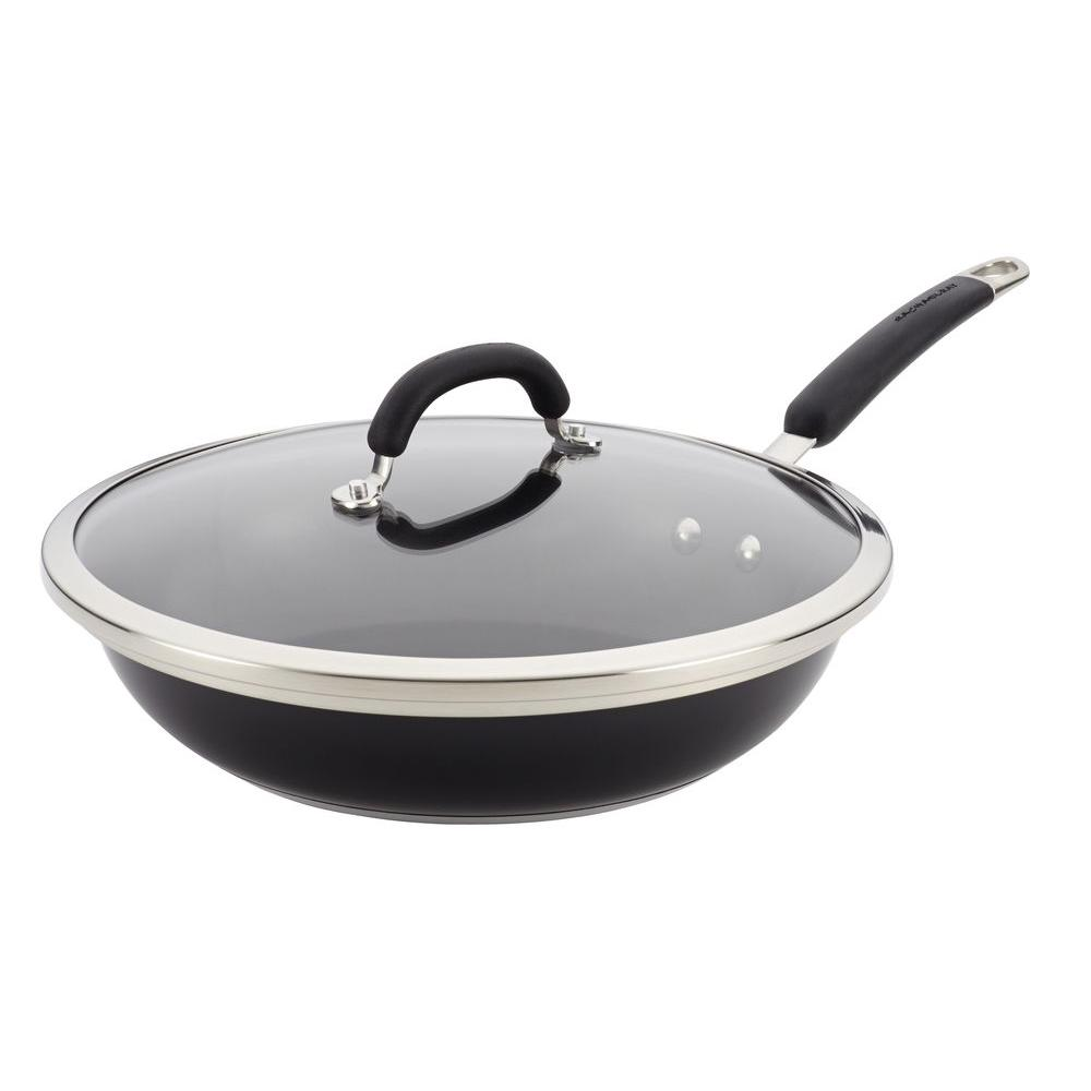 Rachael Ray Stainless Steel Nonstick 12 in. Covered Deep Skillet in Black