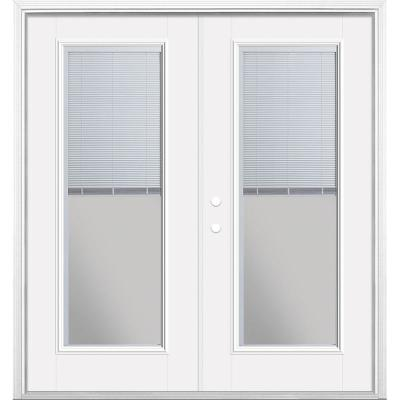 72 in. x 80 in. Primed White Fiberglass Prehung Right-Hand Inswing Mini Blind Primed Patio Door with Brickmold