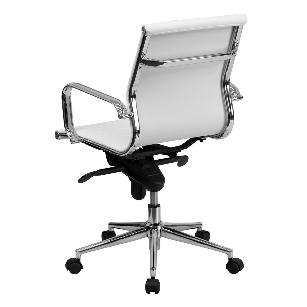 Carnegy Avenue White Leather/Chrome Frame Metal Office/Desk Chair