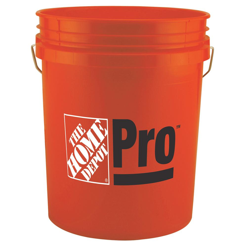 The Home Depot 5 gal. Home Depot Pro Bucket, Orange Use the 5 Gal. Orange Home Depot Pro Bucket to haul parts, paint, topsoil and other household and work-site items. This orange, plastic .70 mil bucket holds up to a 9 in. bucket grid. The Home Depot PRO logo is featured on its side.