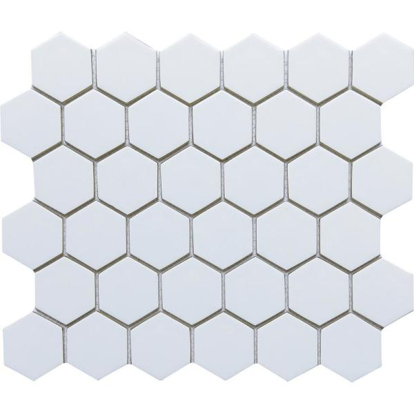 Concept White 10.63 in. x 12.4 in. Honeycomb Semi-gloss Glass Mosaic Tile ( 0.915 sq. ft./Each)