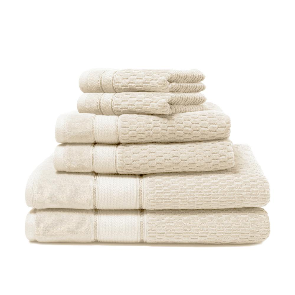 Royale 6-Piece 100% Turkish Cotton Bath Towel Set in Creme