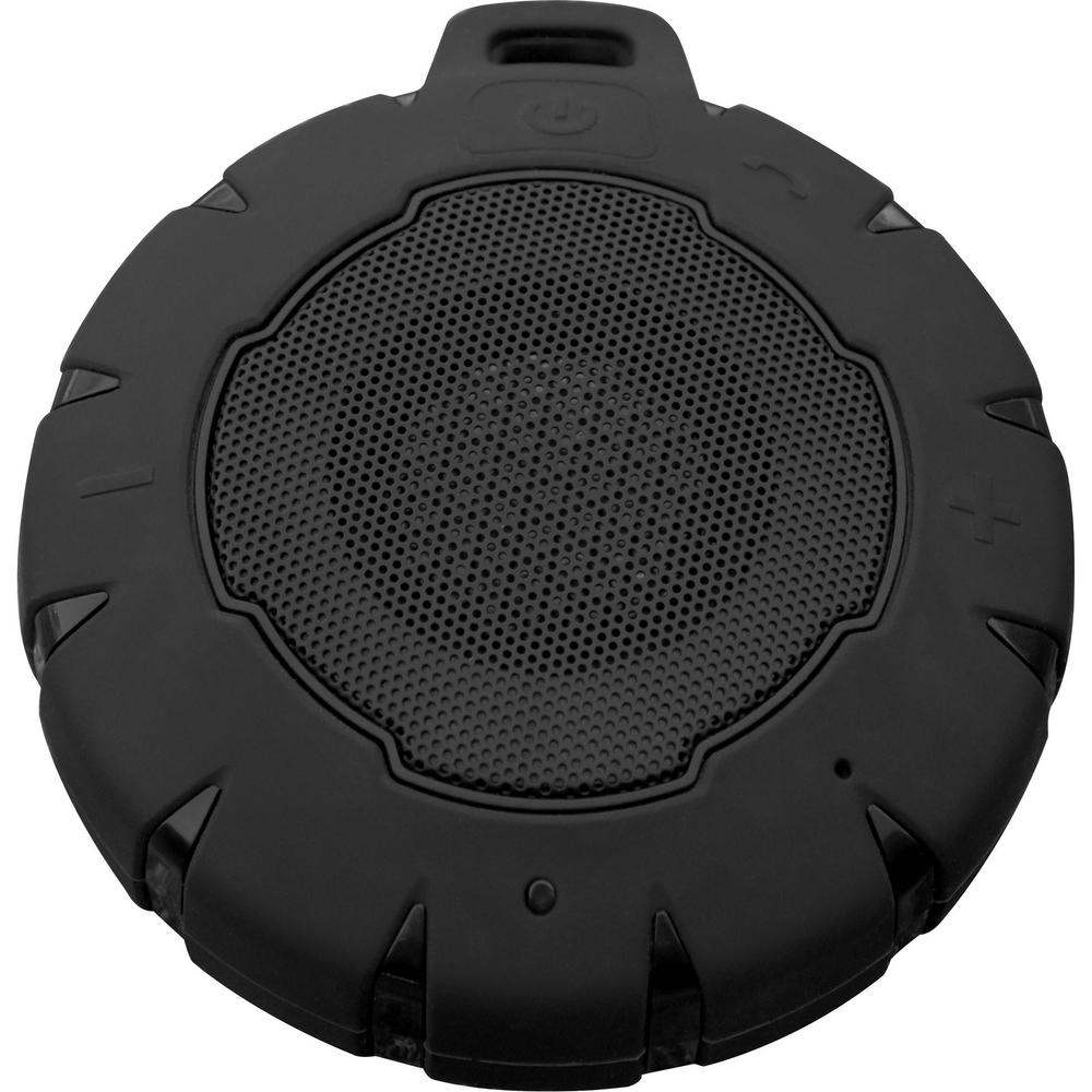 Pocket Size Water Resistant Bluetooth Wireless Speaker with Dual/Parallel Pairing, Black Listen to music worry free in the shower, at the lake and in the pool with the Sportsman Series Pocket Size Wireless Bluetooth Water Resistant Speaker. This wireless Bluetooth speaker is enclosed in a tough silicone cover that helps absorb the bumps and abuse of a busy active life outdoors. With the cover in place, the Wireless Speaker is water resistant and can take a dunk in the pool. The wireless Bluetooth technology will sync with most smart phones, tablets and laptops up to 32 ft. away from the source so you can stream music and other audio almost anywhere. With volume, track and song control, you can choose what you hear right from the speaker. On a full charge the Portable Speaker can play for up to 8 hours. Pair two Pocket Wireless Speakers together for full sound coverage poolside and around the campsite. Color: Black.