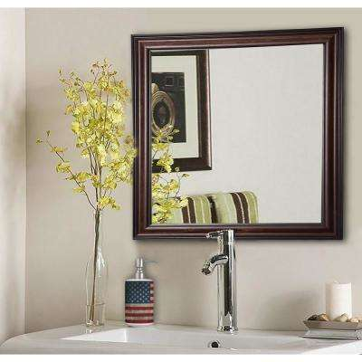 34.5 in. x 34.5 in. American Walnut Square Vanity Wall Mirror