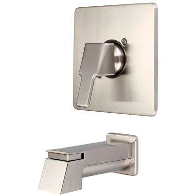 i3 1-Handle Wall Mount Tub Trim Kit in Brushed Nickel with Extended Spout (Valve Not Included)