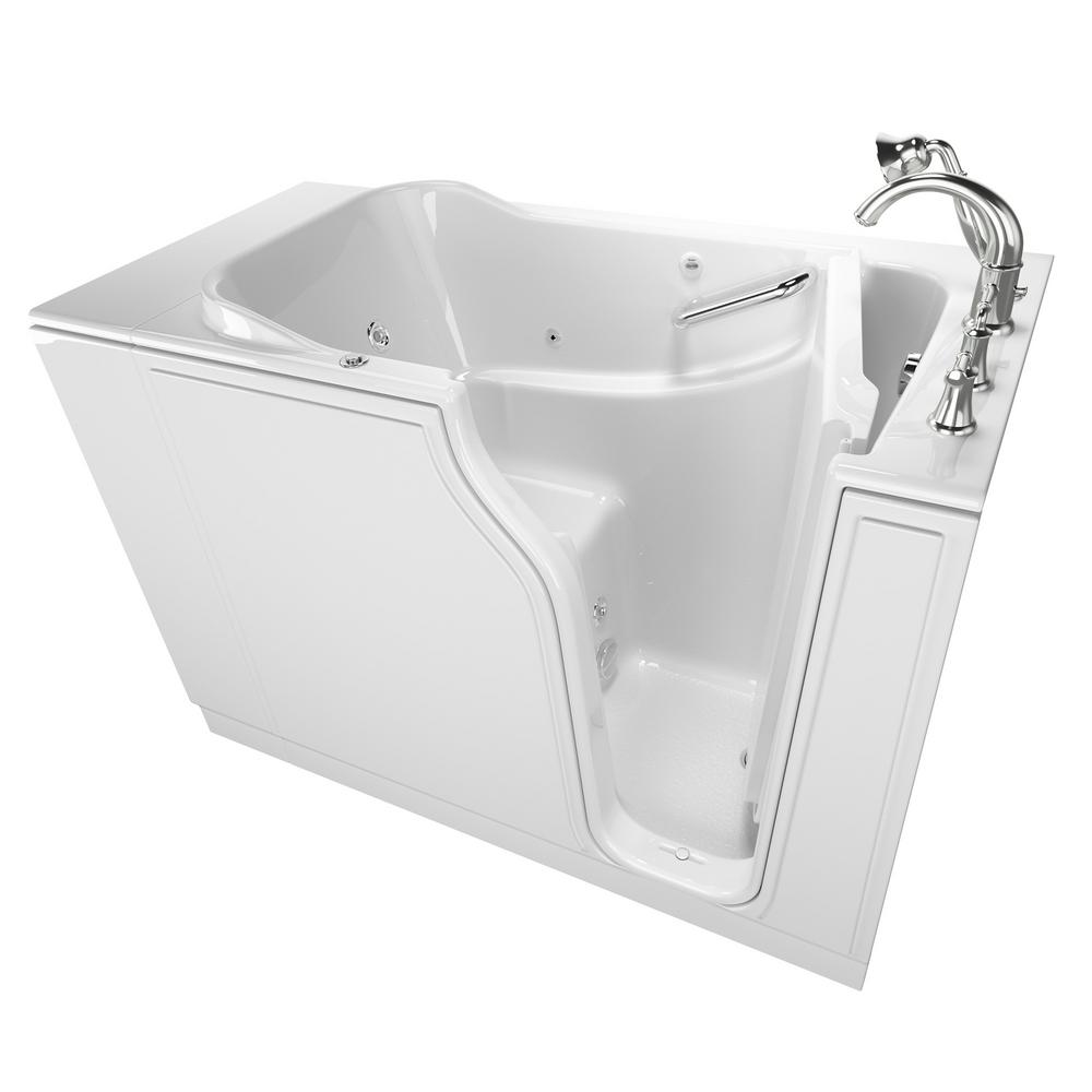 American Standard Gelcoat Value Series 52 in. Right Hand Walk-In Whirlpool Bathtub in White