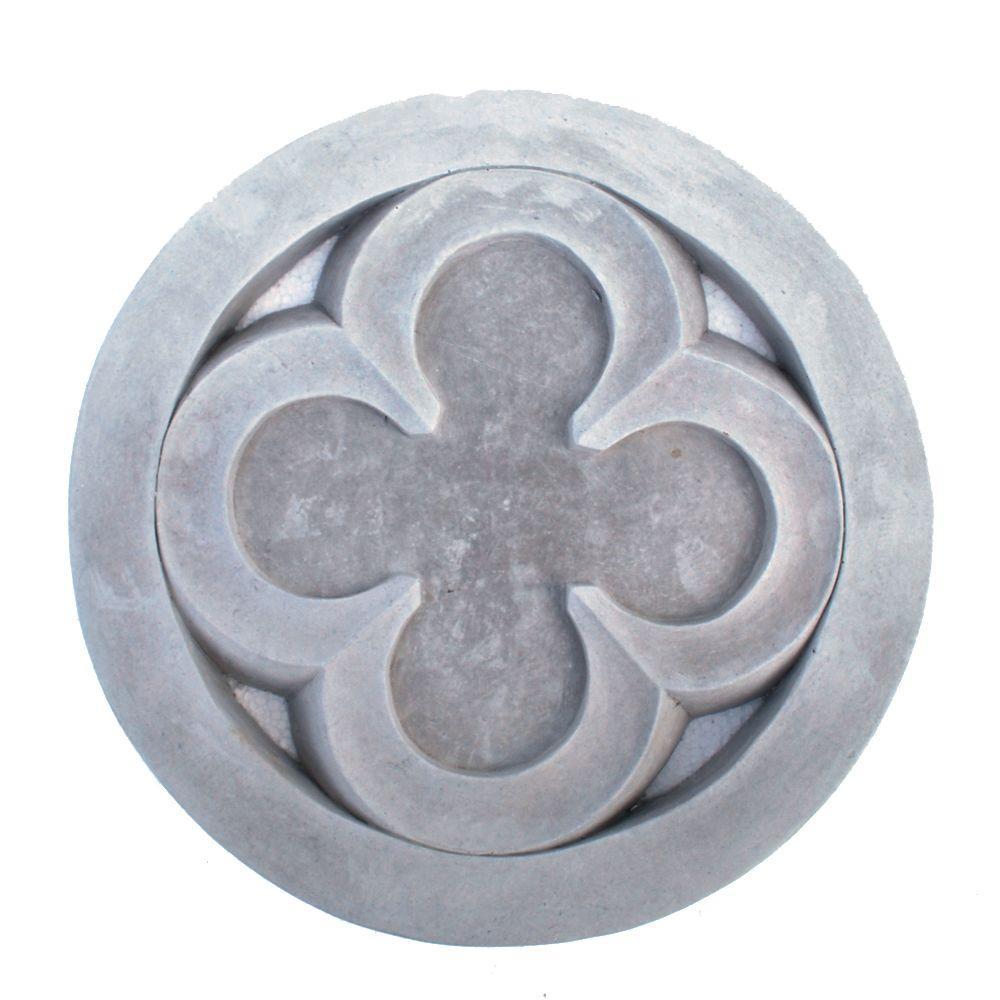 Cast Stone Gothic Quatrefoil Stepstone Antique Gray