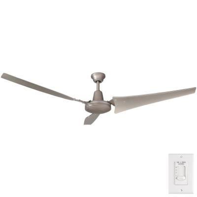 Industrial 60 in. Indoor/Outdoor Brushed Steel Ceiling Fan with Wall Control